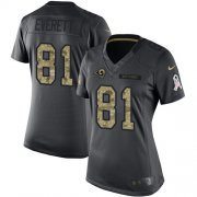 Wholesale Cheap Nike Rams #81 Gerald Everett Black Women's Stitched NFL Limited 2016 Salute to Service Jersey