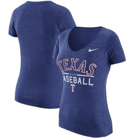 Wholesale Cheap Texas Rangers Nike Women\'s Practice 1.7 Tri-Blend V-Neck T-Shirt Heathered Royal
