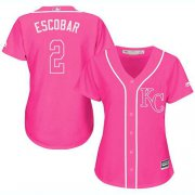 Wholesale Cheap Royals #2 Alcides Escobar Pink Fashion Women's Stitched MLB Jersey