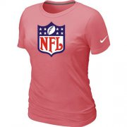 Wholesale Cheap Women's Nike NFL Shield Pink Logo T-Shirt