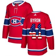 Wholesale Cheap Adidas Canadiens #41 Paul Byron Red Home Authentic USA Flag Stitched NHL Jersey