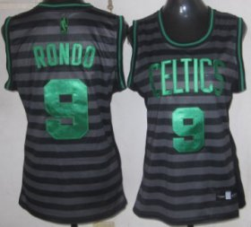 Wholesale Cheap Boston Celtics #9 Rajon Rondo Gray With Black Pinstripe Womens Jersey