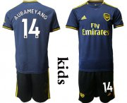 Wholesale Cheap Arsenal #14 Aubameyang Third Kid Soccer Club Jersey