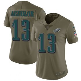 Wholesale Cheap Nike Eagles #13 Nelson Agholor Olive Women\'s Stitched NFL Limited 2017 Salute to Service Jersey