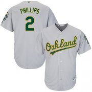 Wholesale Cheap Athletics #2 Tony Phillips Grey Cool Base Stitched Youth MLB Jersey