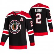 Wholesale Cheap Chicago Blackhawks #2 Duncan Keith Black Men's Adidas 2020-21 Reverse Retro Alternate NHL Jersey