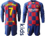 Wholesale Cheap Barcelona #7 Coutinho Home Long Sleeves Kid Soccer Club Jersey