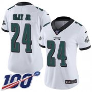 Wholesale Cheap Nike Eagles #24 Darius Slay Jr White Women's Stitched NFL 100th Season Vapor Untouchable Limited Jersey