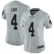 Wholesale Cheap Nike Raiders #4 Derek Carr Silver Women's Stitched NFL Limited Inverted Legend Jersey