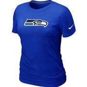 Wholesale Cheap Women's Nike Seattle Seahawks Logo NFL T-Shirt Blue