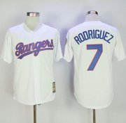 Wholesale Cheap Mitchell And Ness Rangers #7 Ivan Rodriguez White Throwback Stitched MLB Jersey