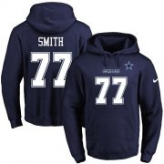Wholesale Cheap Nike Cowboys #77 Tyron Smith Navy Blue Name & Number Pullover NFL Hoodie