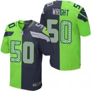 Wholesale Cheap Nike Seahawks #50 K.J. Wright Steel Blue/Green Men's Stitched NFL Elite Split Jersey