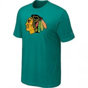 Wholesale Cheap Chicago Blackhawks Big & Tall Logo Teal Green NHL T-Shirt