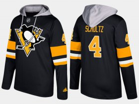Wholesale Cheap Penguins #4 Justin Schultz Black Name And Number Hoodie