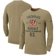 Wholesale Cheap Men's Cincinnati Bengals Nike Tan 2019 Salute to Service Sideline Performance Long Sleeve Shirt