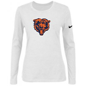 Wholesale Cheap Women\'s Nike Chicago Bears Of The City Long Sleeve Tri-Blend NFL T-Shirt White