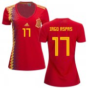 Wholesale Cheap Women's Spain #17 Iago Aspas Red Home Soccer Country Jersey