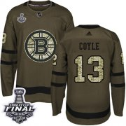 Wholesale Cheap Adidas Bruins #13 Charlie Coyle Green Salute to Service 2019 Stanley Cup Final Stitched NHL Jersey