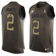 Wholesale Cheap Nike Eagles #2 Jalen Hurts Green Men's Stitched NFL Limited Salute To Service Tank Top Jersey