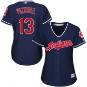 Wholesale Cheap Indians #13 Omar Vizquel Navy Blue Alternate Women's Stitched MLB Jersey