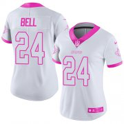 Wholesale Cheap Nike Saints #24 Vonn Bell White/Pink Women's Stitched NFL Limited Rush Fashion Jersey