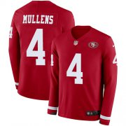 Wholesale Cheap Nike 49ers #4 Nick Mullens Red Team Color Men's Stitched NFL Limited Therma Long Sleeve Jersey