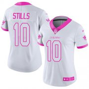 Wholesale Cheap Nike Dolphins #10 Kenny Stills White/Pink Women's Stitched NFL Limited Rush Fashion Jersey