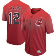 Wholesale Cheap Nike Indians #12 Francisco Lindor Red Fade Authentic Stitched MLB Jersey