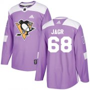 Wholesale Cheap Adidas Penguins #68 Jaromir Jagr Purple Authentic Fights Cancer Stitched NHL Jersey