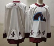 Wholesale Cheap Men's Colorado Avalanche Blank White 2021 Retro Stitched NHL Jersey