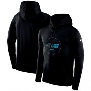 Wholesale Cheap Men's Carolina Panthers Nike Black Sideline Property Of Wordmark Logo Performance Pullover Hoodie