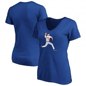 Wholesale Cheap Los Angeles Dodgers #85 Dustin May Majestic Women\'s Big Red V-Neck T-Shirt Royal