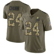 Wholesale Cheap Nike Browns #24 Nick Chubb Olive/Camo Youth Stitched NFL Limited 2017 Salute to Service Jersey