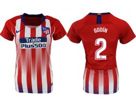 Wholesale Cheap Women\'s Atletico Madrid #2 Godin Home Soccer Club Jersey