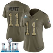 Wholesale Cheap Nike Eagles #11 Carson Wentz Olive/Camo Super Bowl LII Women's Stitched NFL Limited 2017 Salute to Service Jersey