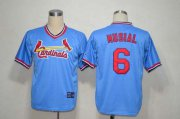 Wholesale Cheap Mitchell And Ness Cardinals #6 Stan Musial Light Blue Throwback Stitched MLB Jersey