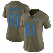 Wholesale Cheap Nike Lions #81 Calvin Johnson Olive Women's Stitched NFL Limited 2017 Salute to Service Jersey