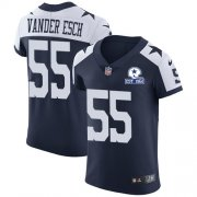 Wholesale Cheap Nike Cowboys #55 Leighton Vander Esch Navy Blue Thanksgiving Men's Stitched With Established In 1960 Patch NFL Vapor Untouchable Throwback Elite Jersey