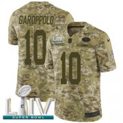 Wholesale Cheap Nike 49ers #10 Jimmy Garoppolo Camo Super Bowl LIV 2020 Men's Stitched NFL Limited 2018 Salute To Service Jersey