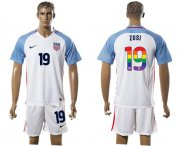 Wholesale Cheap USA #19 Zusi White Rainbow Soccer Country Jersey