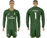 Wholesale Cheap Real Madrid #1 I.Casillas Green Goalkeeper Long Sleeves Soccer Club Jersey