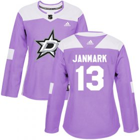 Wholesale Cheap Adidas Stars #13 Mattias Janmark Purple Authentic Fights Cancer Women\'s Stitched NHL Jersey