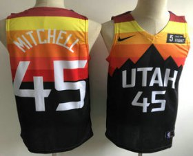 Wholesale Cheap Men\'s Utah Jazz #45 Donovan Mitchell Mountain Black 2020 Nike Swingman 5 For The Fight Stitched NBA Jersey