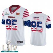 Wholesale Cheap San Francisco 49ers #85 George Kittle White Super Bowl LIV 2020 Men's Nike Team Logo USA Flag Vapor Untouchable Limited NFL Jersey
