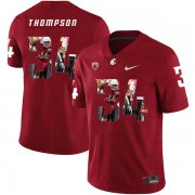 Wholesale Cheap Washington State Cougars 34 Jalen Thompson Red Fashion College Football Jersey