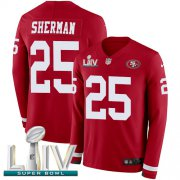 Wholesale Cheap Nike 49ers #25 Richard Sherman Red Super Bowl LIV 2020 Team Color Men's Stitched NFL Limited Therma Long Sleeve Jersey