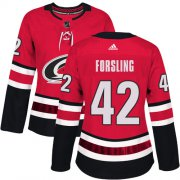 Wholesale Cheap Adidas Hurricanes #42 Gustav Forsling Red Home Authentic Women's Stitched NHL Jersey