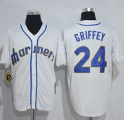 Wholesale Cheap Mitchell And Ness Mariners #24 Ken Griffey White Throwback Stitched MLB Jersey