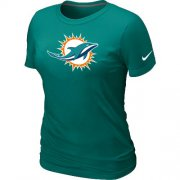 Wholesale Cheap Women's Nike Miami Dolphins Logo NFL T-Shirt Light Green